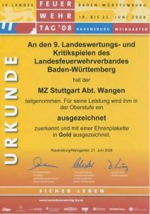 Urkunde Wertungsspiel 2008